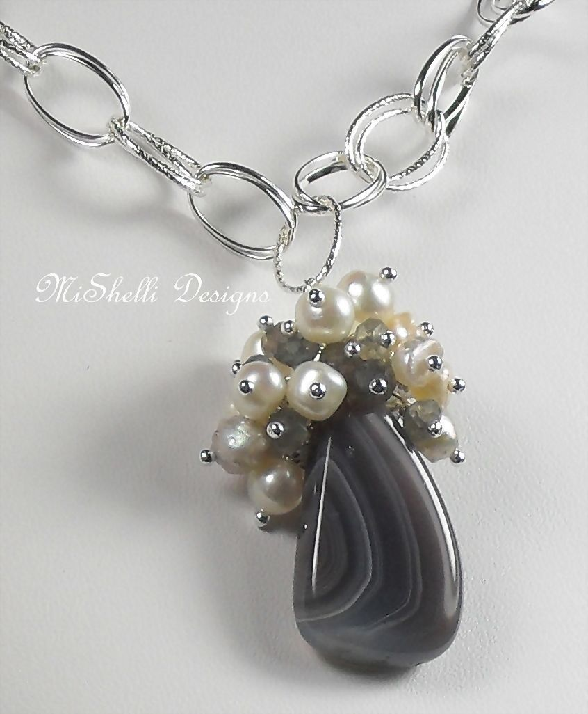 Botswana Agate Labradorite Freshwater Pearl Cluster Sterling Necklace