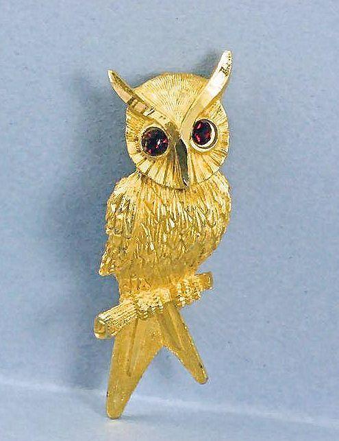 Vintage Owl With Red Rhinestone Eyes Brooch Pin~Signed BSK