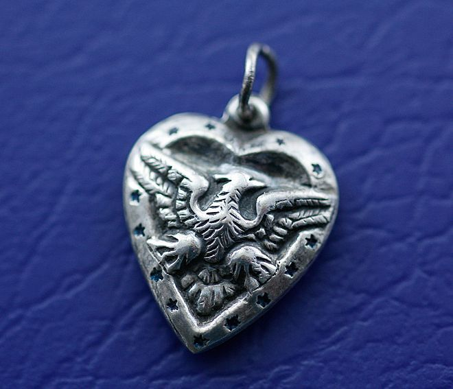 WW2 Era Sterling Silver Puffy Heart Eagle Charm with Enamelled Blue Star Border