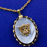 1940's WW2 Era US Army Eagle Military Sweetheart Gold Filled Mother of Pearl Locket Pendant and Chain Necklace