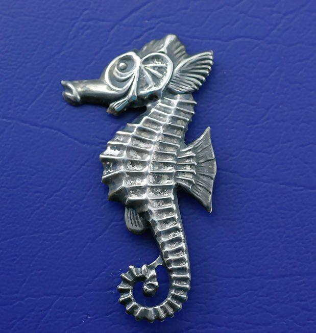 Vintage Sterling Silver Seahorse Brooch Pin