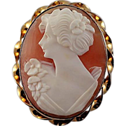 Vintage Hand Carved Shell Left Facing Cameo Pendant/Brooch Pin 12KT Gold Filled