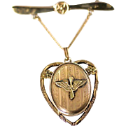 1940's WW2 Era Army Air Corps AAC Military Sweetheart Gold Filled Propeller Pin and Locket Pendant from The Providence Stock Company