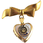 Petite Gold Filled and Mother of Pearl Heart Locket and Bow Pin with US Navy Emblem