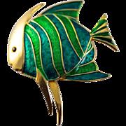 Vintage Enameled Boucher Angel Fish Brooch Pin