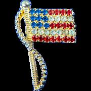 Vintage Rafaelian US Flag Brooch Pin and Red, White, and Blue Rhinesotnes  ~ Patriotic