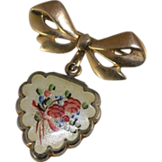 Vintage LaMode Guilloche Enamel Flowers Scalloped Edge Gold Filled Heart Shaped Locket Pendant and Bow Pin