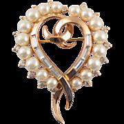 1950's Trifari Heart Baguette Rhinestones and Faux Pearl Brooch