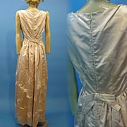 B2549 Vintage evening gown 1960s SILK charmeuse w flocked velvet