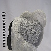 Antique lace day cap embroidered net Victorian era