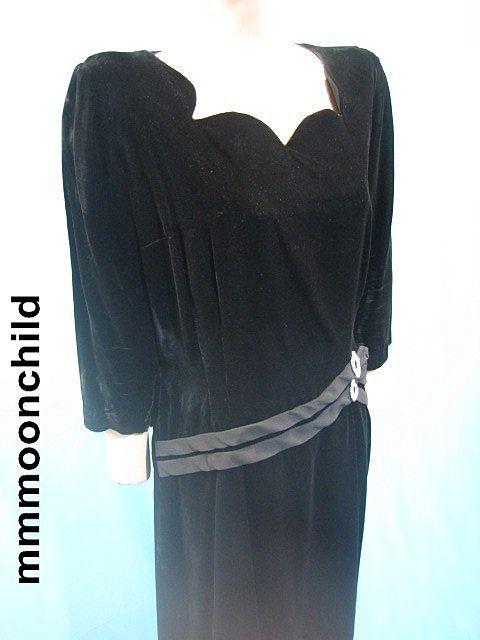 Vintage dress evening cocktail black velvet w rhinestone 50s party