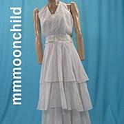 Vintage dress gown 1970s evening or bridal halter