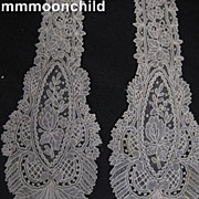 Antique lace tie handmade Brussels Point de Gaze Victorian era