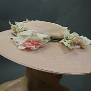 Vintage hat 1940s sun hat wide brim w roses