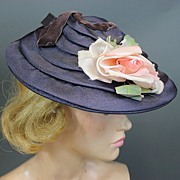 Vintage hat 1940s sun hat rayon over buckram