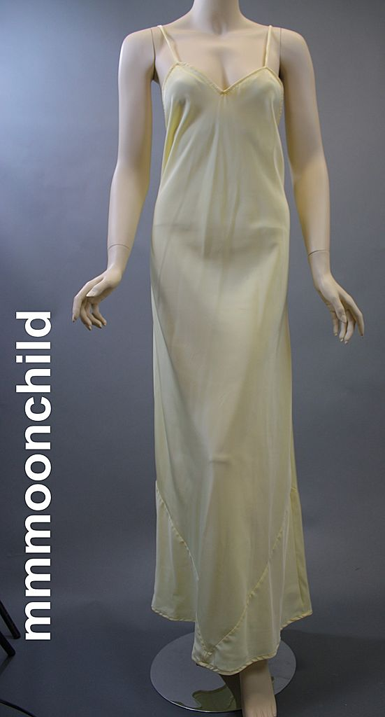 Vintage slip formal 1970s polyester pale yellow XL