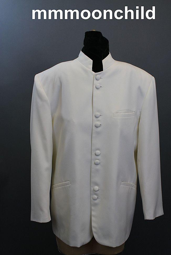 Vintage tuxedo jacket 1960s hippie nehru prince wedding 44R
