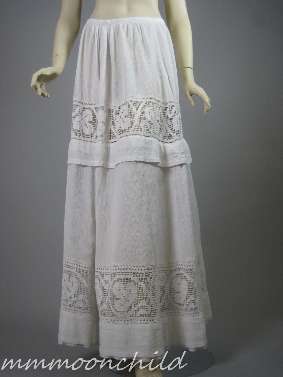 Vintage Edwardian era Skirt Cotton and Lace HM25