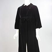Vintage black velvet evening coat 1950s