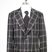 Vintage 60s 70s mens Jacket plaid linen