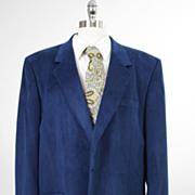 Vintage 60s 70s mens Jacket Dark blue Ultra Suede