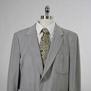 Vintage 60s 70s mens Jacket Gray Ultra Suede
