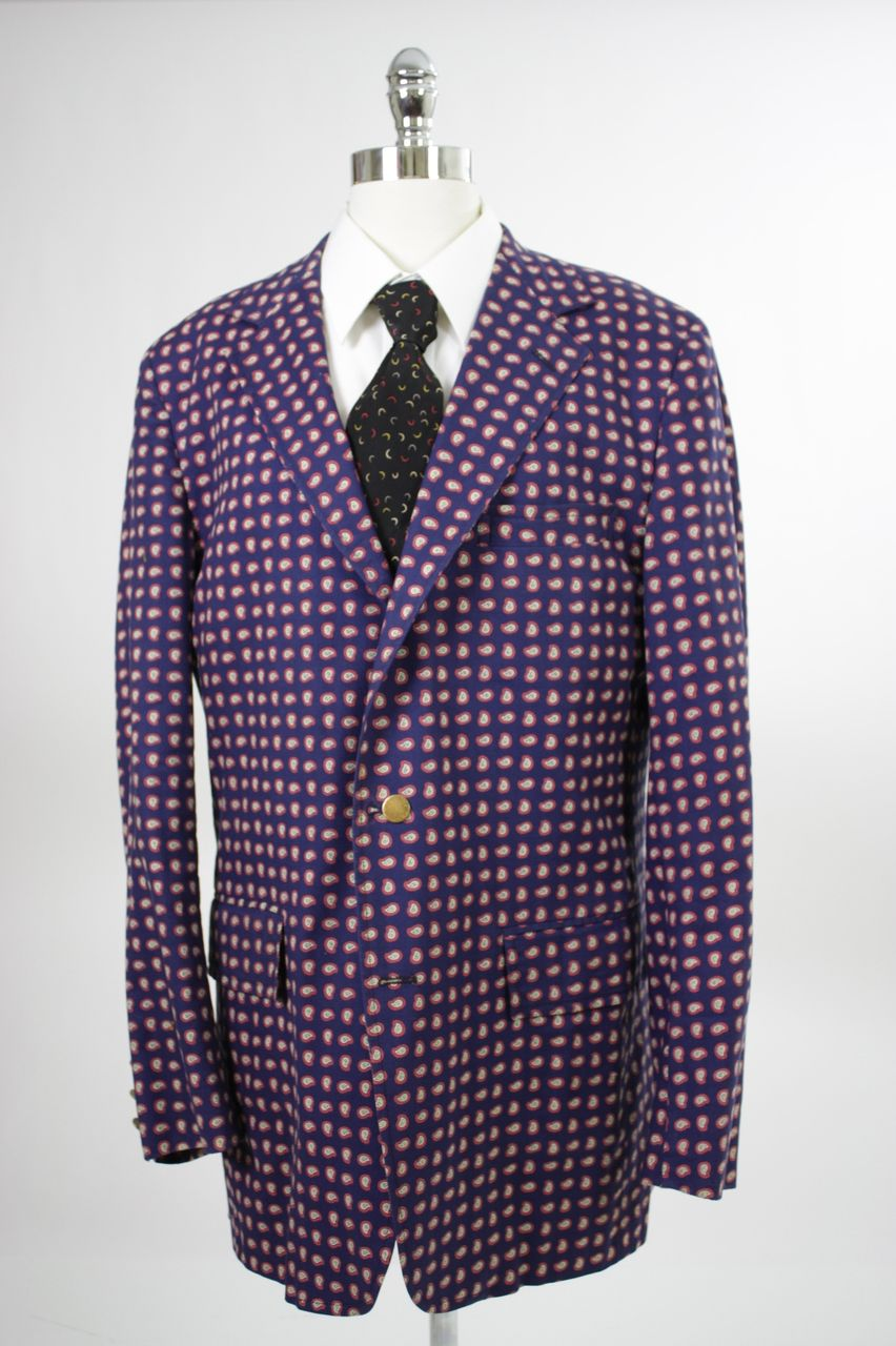 Vintage 60s 70s mens Jacket Navy w Paisley print