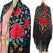 Antique Edwardian Cantonese heavily Embroidered floral Piano Shawl