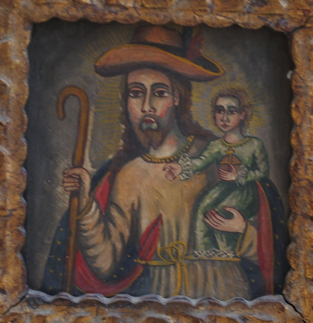 Saint Joseph With The Infant Jesus - Peruvian Folk Art Retablo