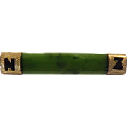 9 Carat Gold & Greenstone 'N Z' Bar Brooch Circa 1890-1910