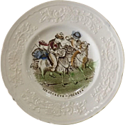 Victorian Child's Decorated Plate -Les Jockeys - Jockeys