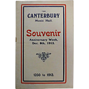 "Theatre Program ""The Canterbury Musica Hall"" London 1913"