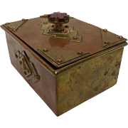 Stunning Art Nouveau Copper & Brass Trinket Box