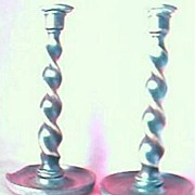 Edwardian Wooden Barley twist & Brass Candlesticks