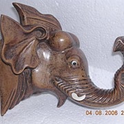 Vintage Hand Carved Elephant Wall Hanger