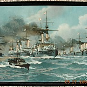 Edwardian Period Lithograph of The British Fleet Circa 1904