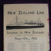 NZ LINE Sailings to New Zealand Pamphlet 1932