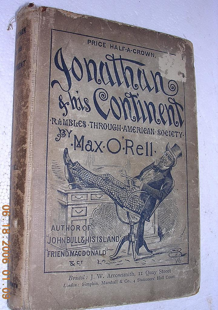 "1889 Book ""Jonathon & His Continent"" First Edition"