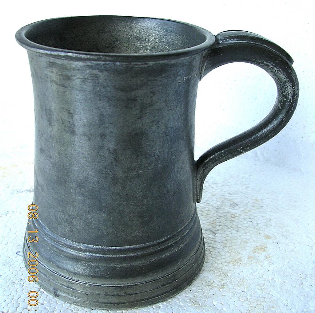 Victorian Pewter Glass Bottom Tankard