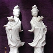 A Pair Of Blanc-de-Chine Kuanyins Circa 1910-1920