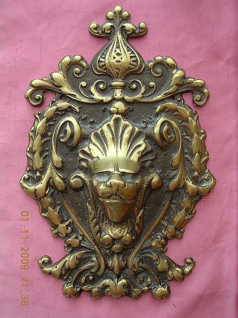 Victorian Period Art Nouveau Brass Door Escutcheon