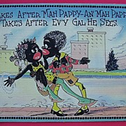 "Vintage Negro Humour Postcard ""Ah Takes After Mah Pappy"""