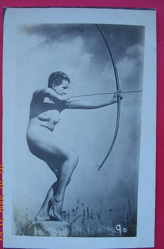 "Vintage French Nude ""Archer"" Postcard"