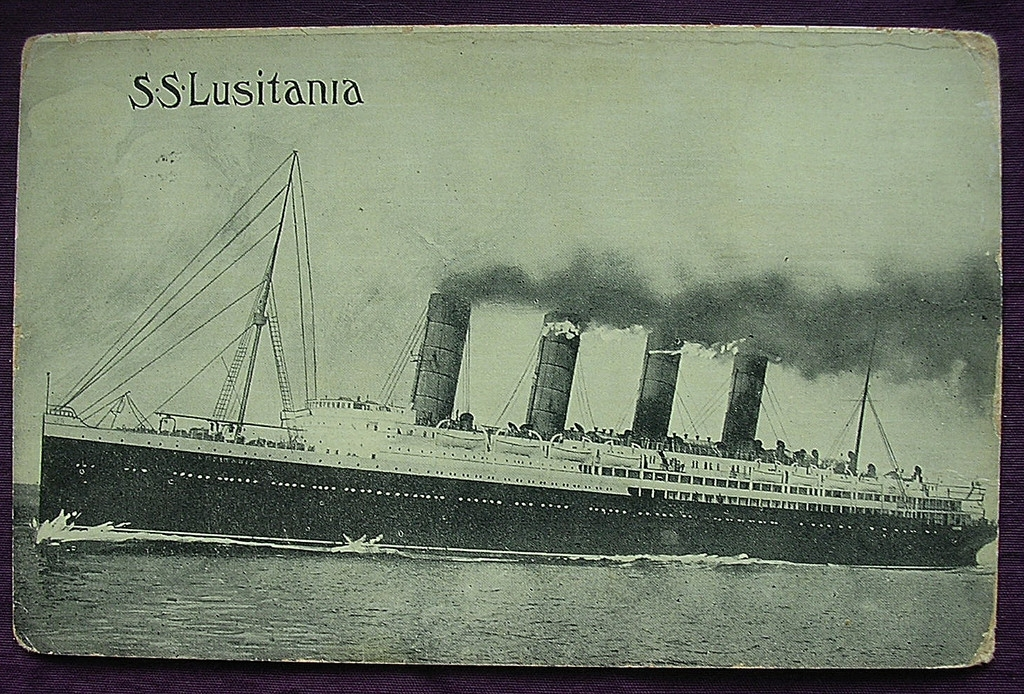 S.S. Lusitania Postcard Dated 1908