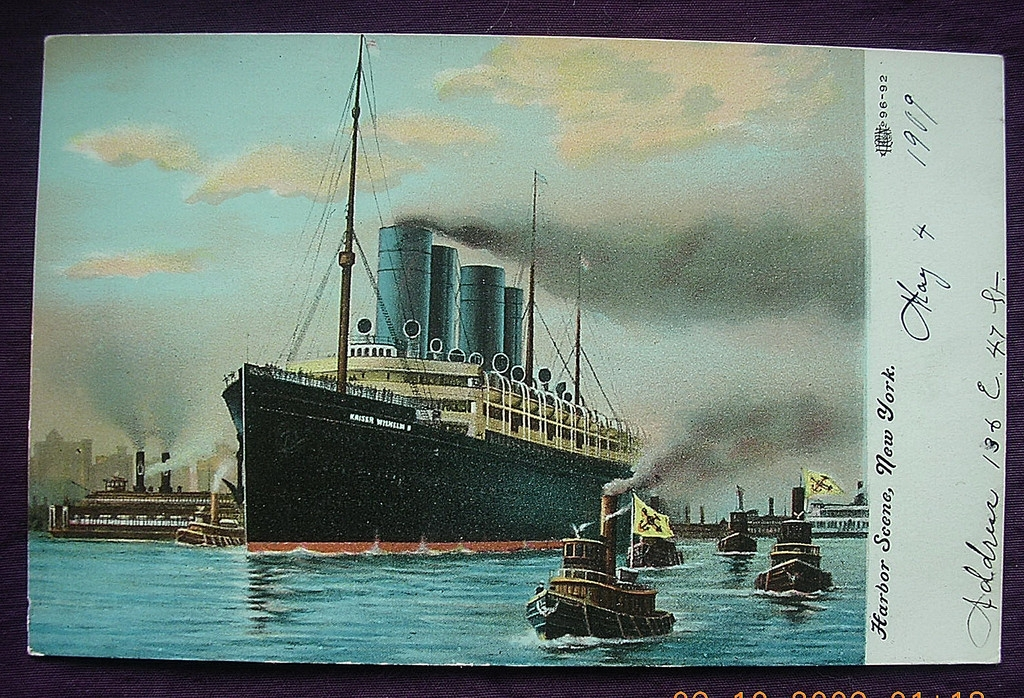 Vintage Shipping Postcard 'Kaiser Willem' New York