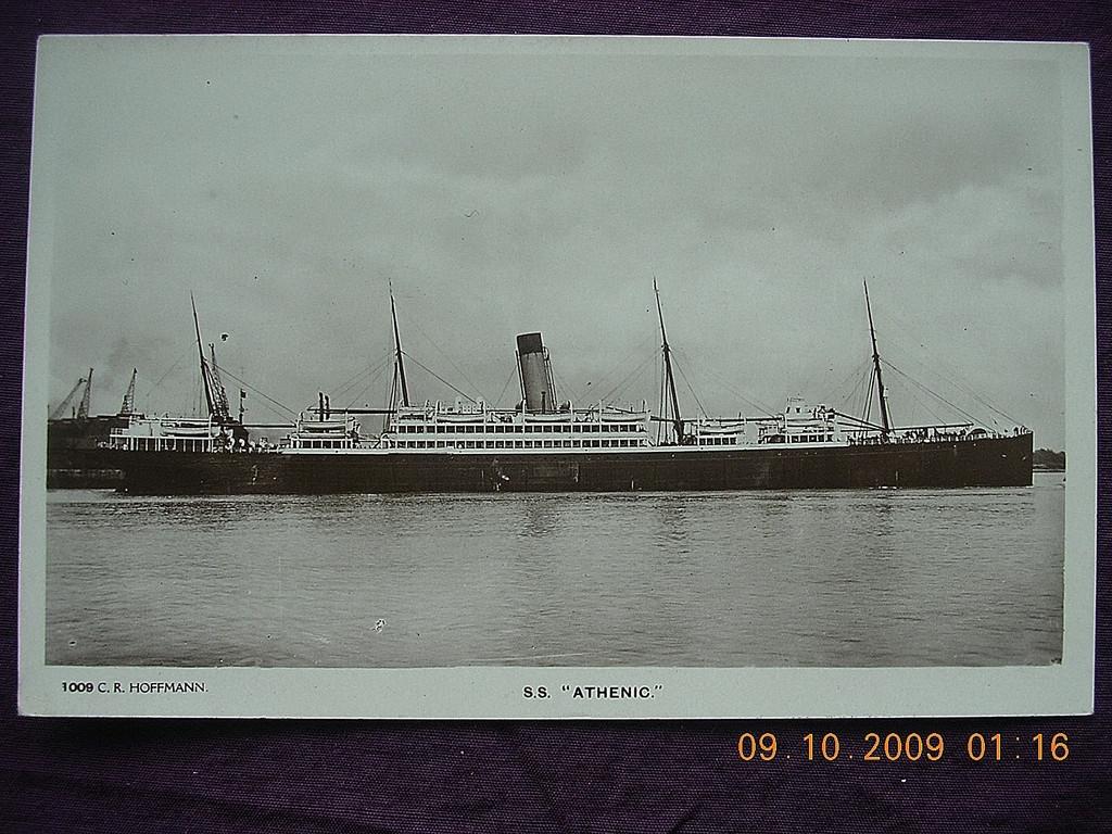 White Star Line 'S.S.Athenic' Vintage Souvenir Postcard