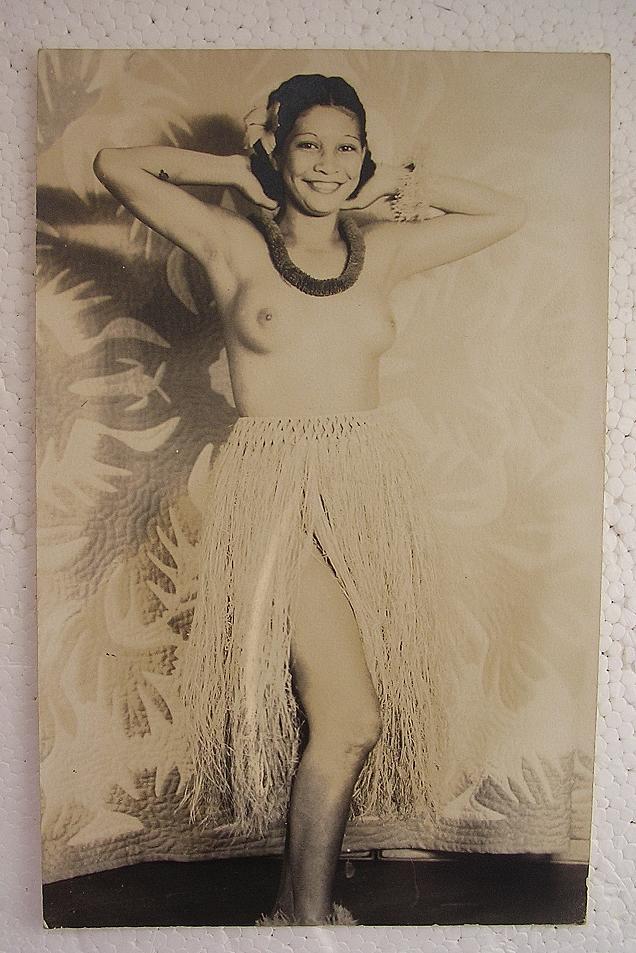 Topless HAWAIIAN HULA Girl World War Two Vintage Postcard