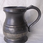 Victorian JAMES YATES Baluster Shape Pint Pewter Tankard