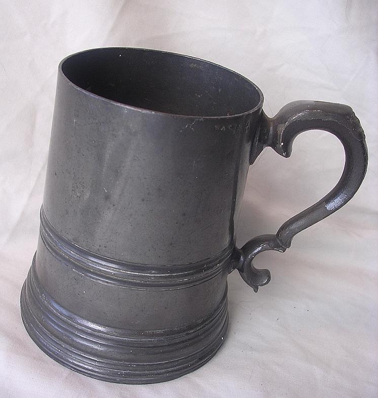 Victorian Glass Bottom Cylinder Shaped Tankard Circa 1830 -1860