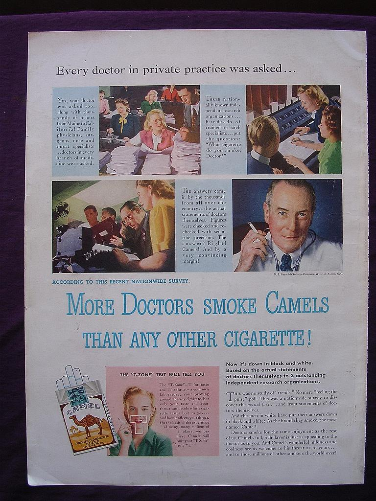 """Esquire 1944 'CAMELS' Advert """"More Doctors Smoke CAMELS Than Any Other Cigarette"""""""